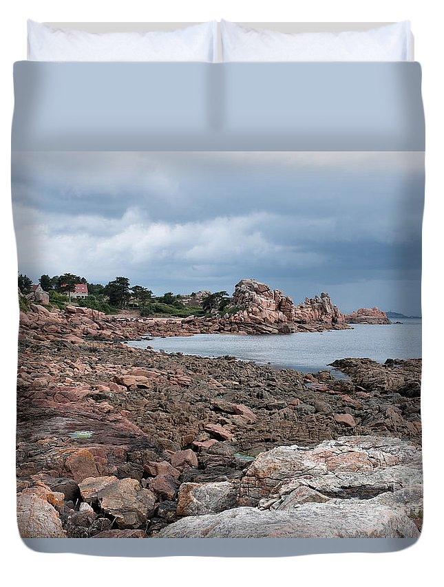 Pink Granite Coast Duvet Cover featuring the photograph The Pink Granite Coast Brittany by Ann Garrett