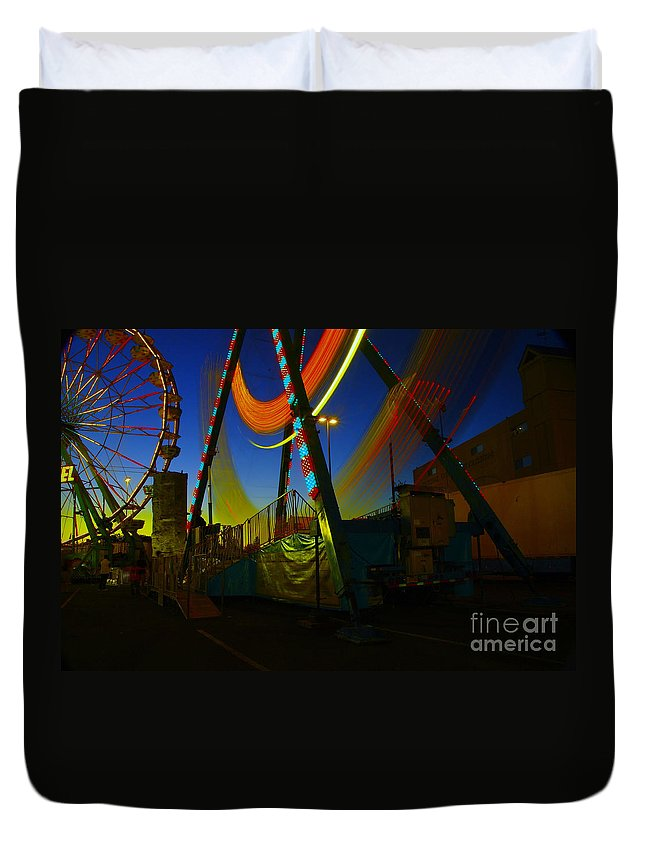 Nights Photos Duvet Cover featuring the photograph The Pirate Ship And Big Wheel by Jeff Swan