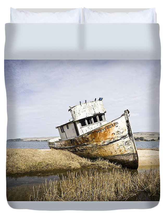 Boat Duvet Cover featuring the photograph The Point Reyes by Priya Ghose