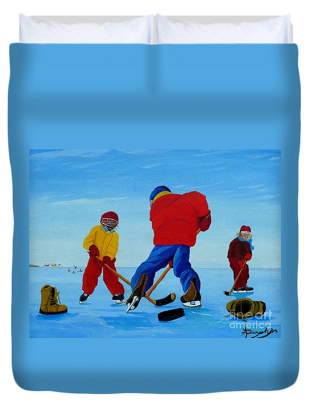Winter Duvet Cover featuring the painting The Pond Hockey Game by Anthony Dunphy