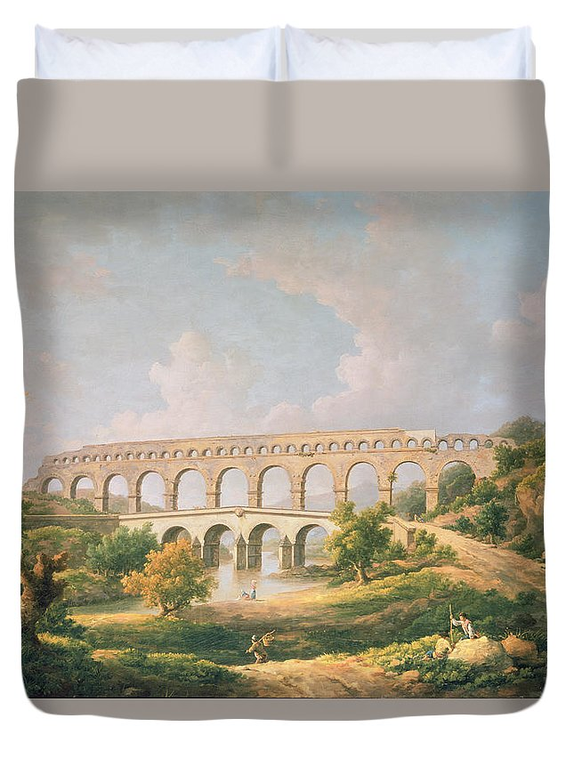 Landscape Duvet Cover featuring the photograph The Pont Du Gard, Nimes by William Marlow