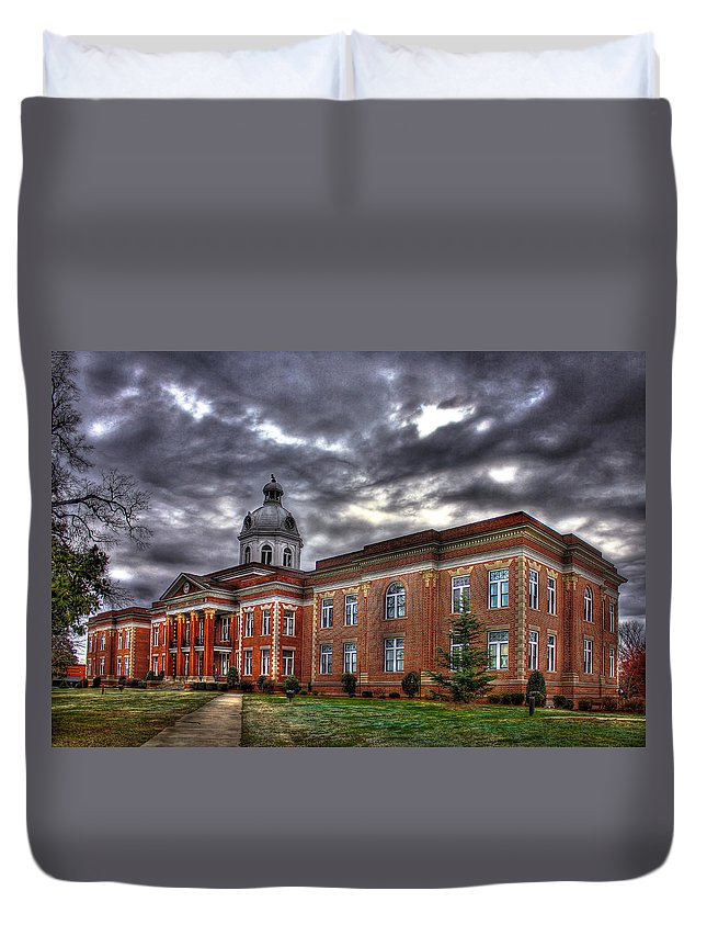 Reid Callaway Putnam County Court House Duvet Cover featuring the photograph The Powerhouse Putnam County Court House by Reid Callaway