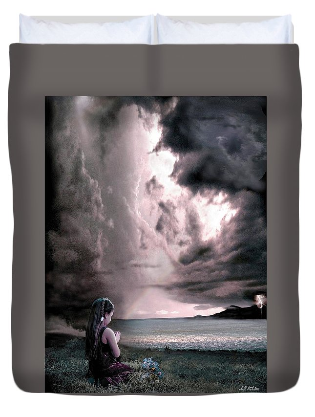 Children Duvet Cover featuring the mixed media The Prayer by Bill Stephens
