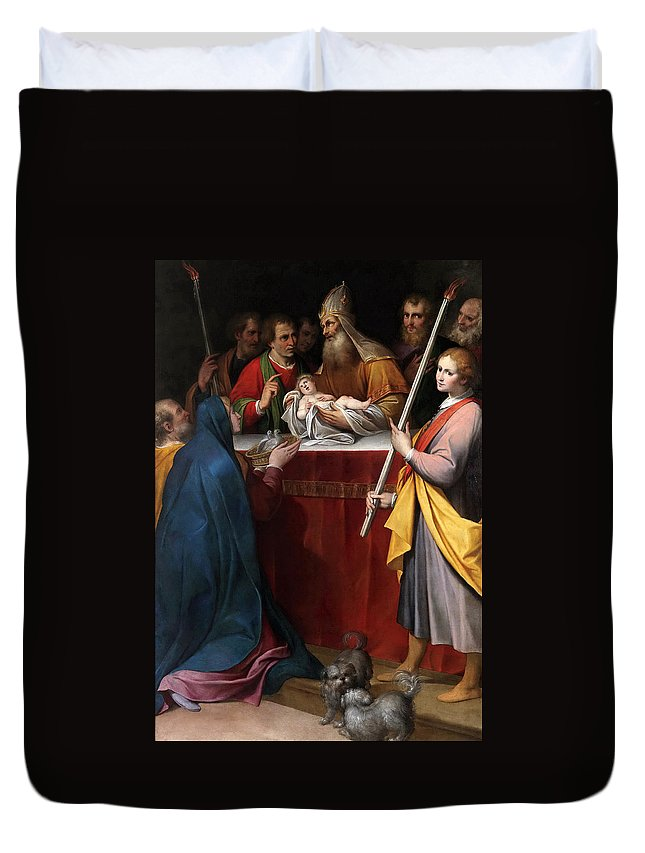 Camillo Procaccini Duvet Cover featuring the painting The Presentation In The Temple by Camillo Procaccini