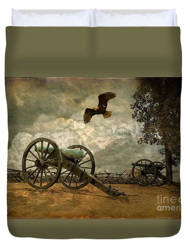 Canon Duvet Cover featuring the photograph The Price Of Freedom by Lois Bryan