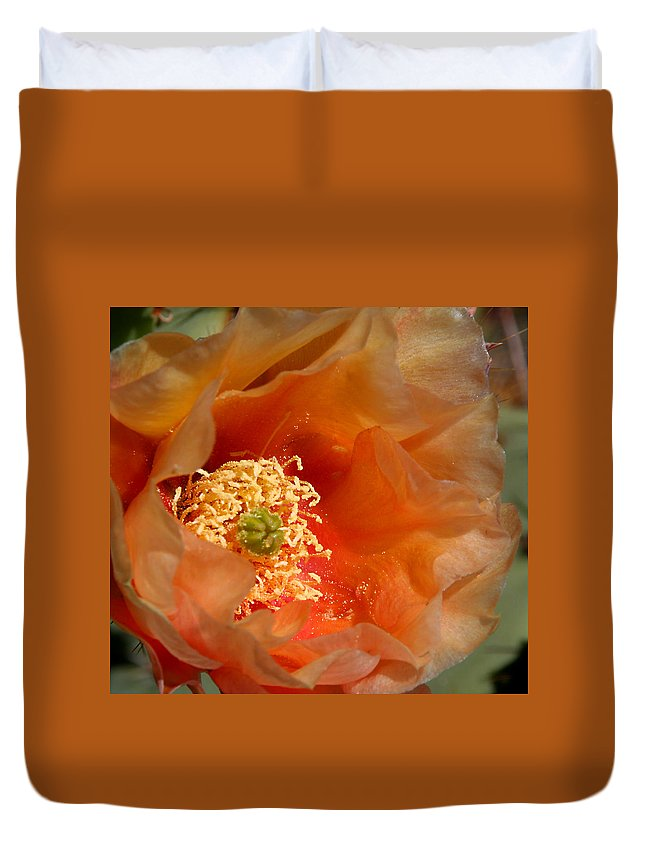Flower Duvet Cover featuring the photograph The Prickly Pear World by Joe Kozlowski