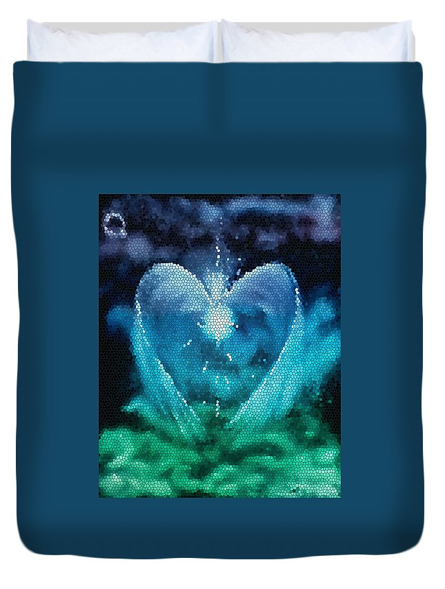 Angel Duvet Cover featuring the painting The Prince - Stained Glass by Cyndi Bartlett