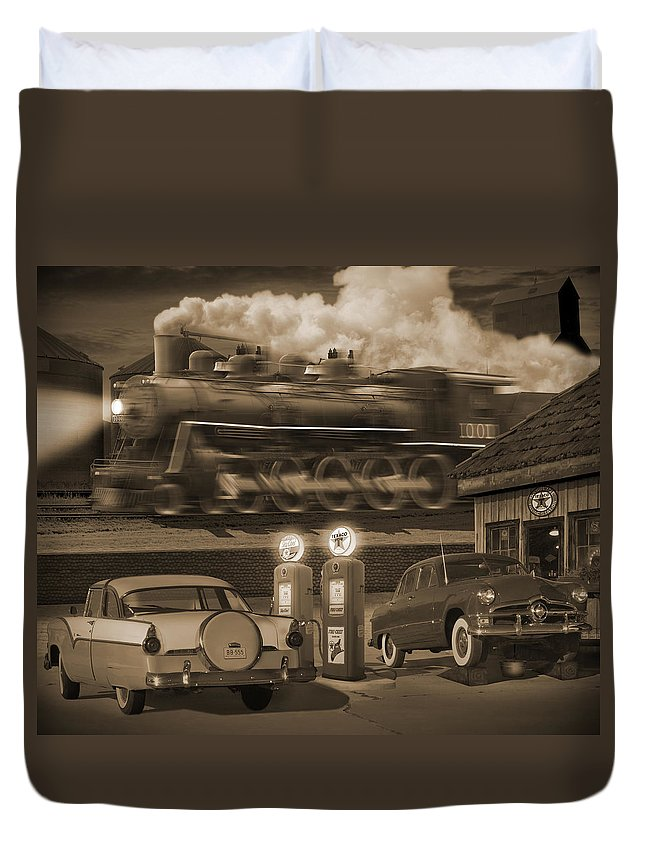 Transportation Duvet Cover featuring the photograph The Pumps 2 by Mike McGlothlen