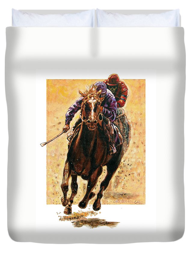 Horse Duvet Cover featuring the painting The Race by John Lautermilch