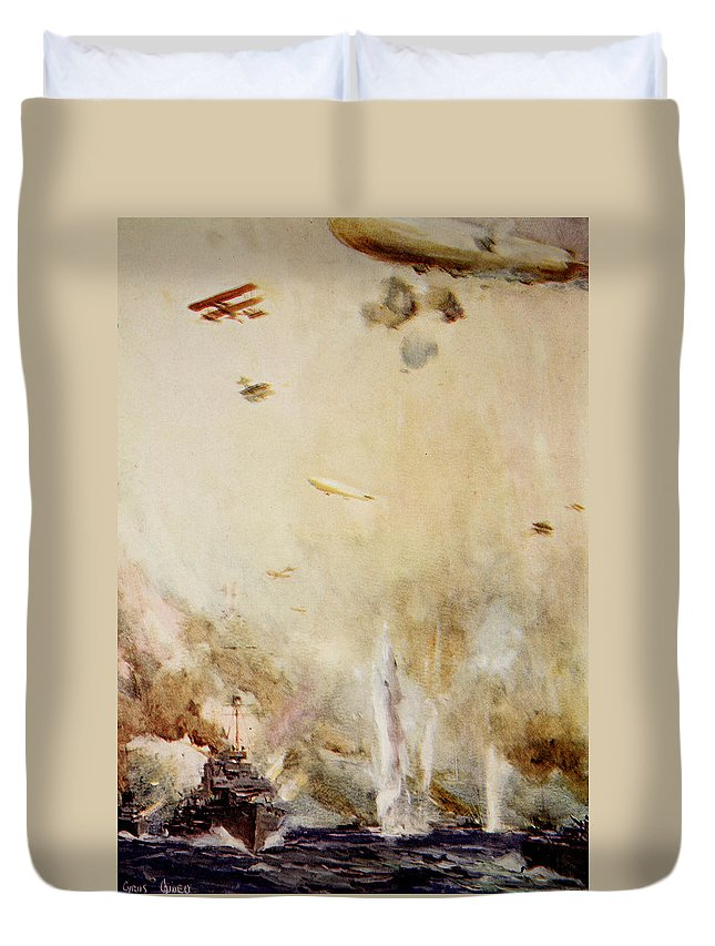 World Duvet Cover featuring the painting The Raid On Cuxhaven by Cyrus Cuneo
