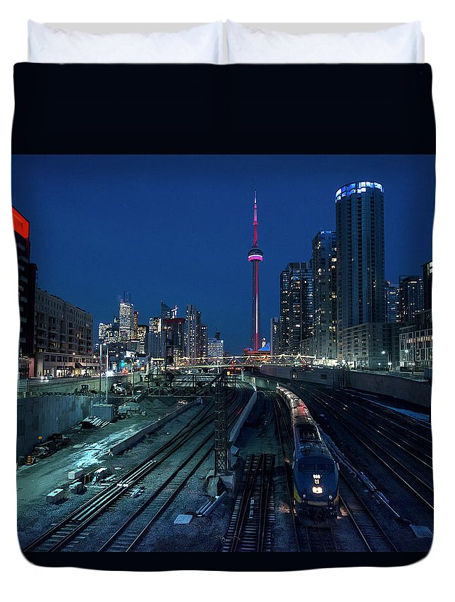 Train Duvet Cover featuring the photograph The Railway Lands Toronto by This Image