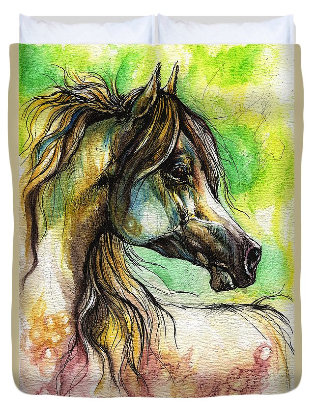 Horse Duvet Cover featuring the painting The Rainbow Colored Arabian Horse by Angel Ciesniarska