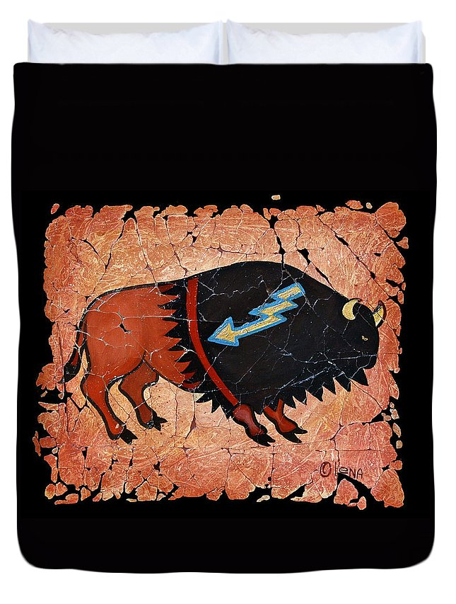 Red Bison Duvet Cover featuring the painting The Red Buffalo Fresco by OLena Art Brand