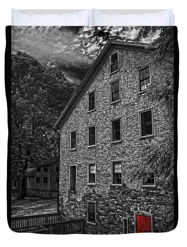 Selective Color Duvet Cover featuring the photograph The Red Door by Debra Fedchin