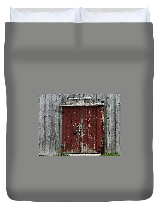 The Red Door Duvet Cover featuring the photograph The Red Door by Denyse Duhaime