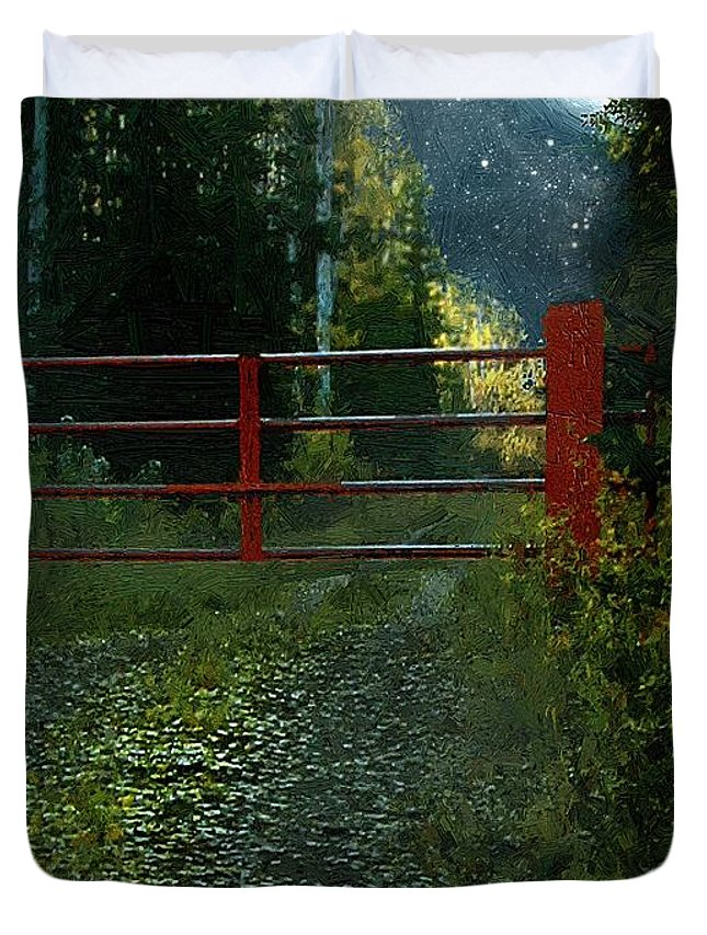 Landscape Duvet Cover featuring the painting The Red Gate by RC DeWinter