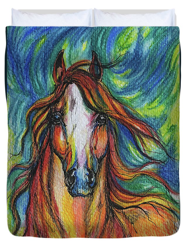 Psychodelic Duvet Cover featuring the painting The Red Horse by Angel Ciesniarska