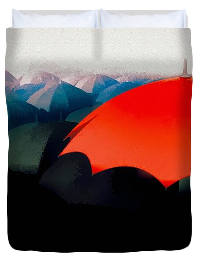 Umbrella Duvet Cover featuring the painting The Red Umbrella by Bob Orsillo