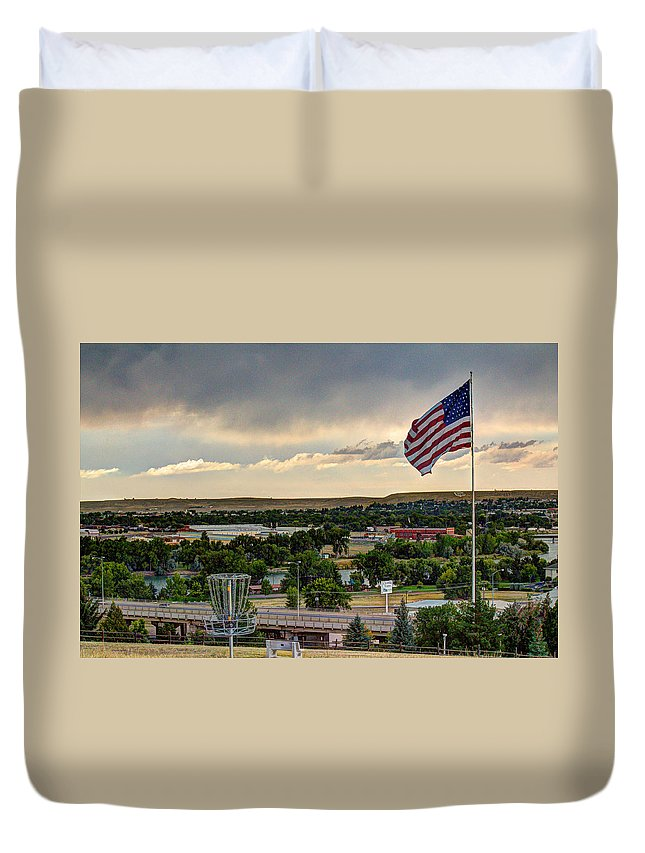 American Flag Duvet Cover featuring the photograph The Red White And Blue by John Lee