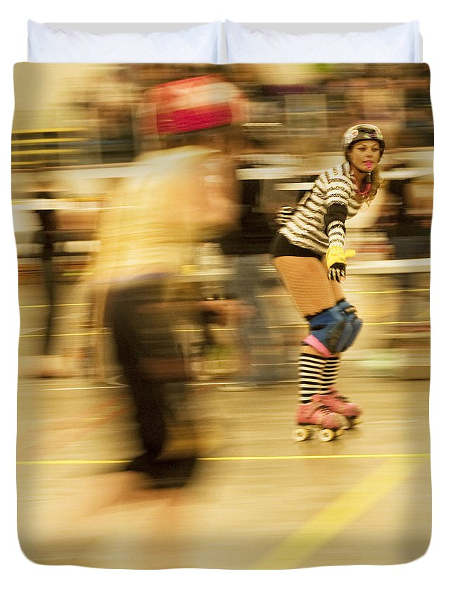 Roller Derby Duvet Cover featuring the photograph The Ref by Theresa Tahara