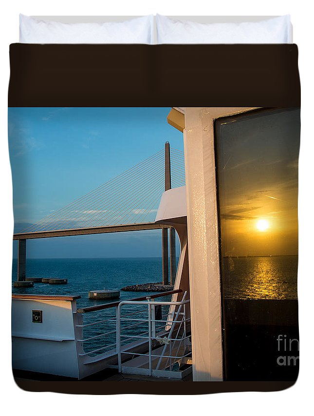 Cruise Duvet Cover featuring the photograph The Reflection Of A Crossing Gold To Blue by Rene Triay Photography
