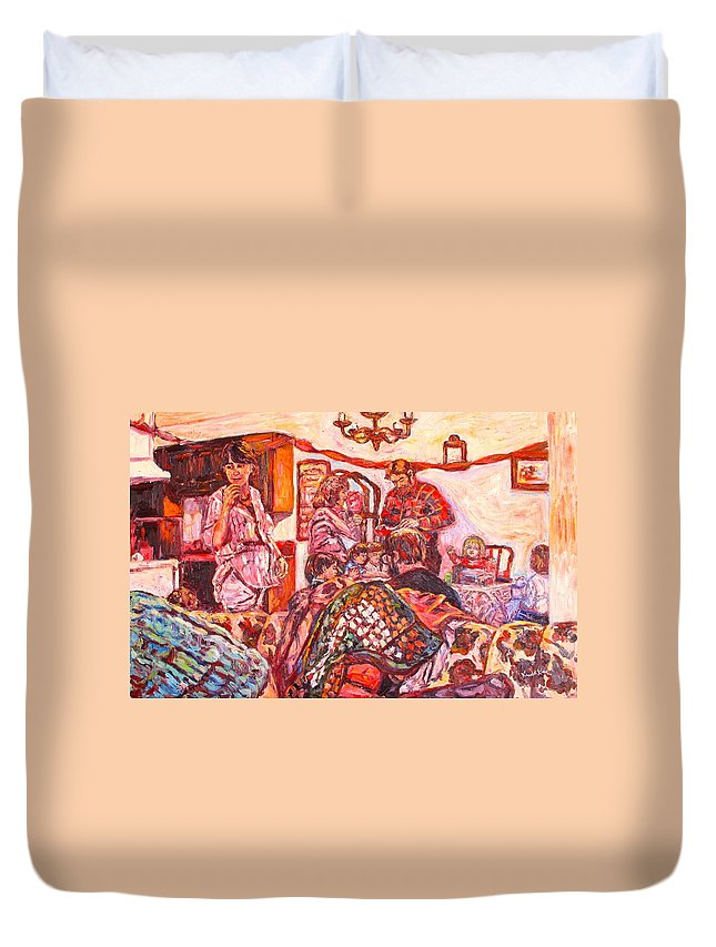 Figure Duvet Cover featuring the painting The Rest of the Party by Kendall Kessler