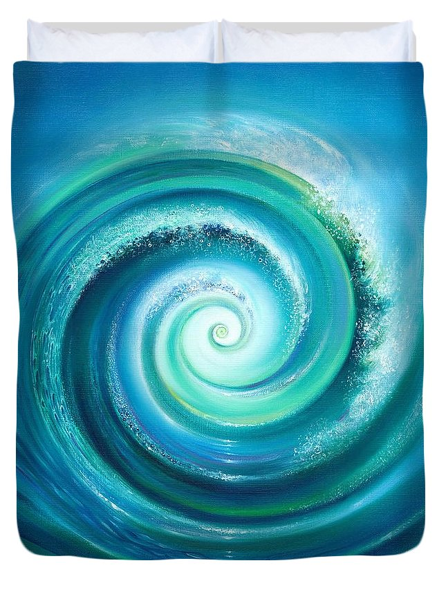 Sea Duvet Cover featuring the painting The Return Wave by Anna Ewa Miarczynska