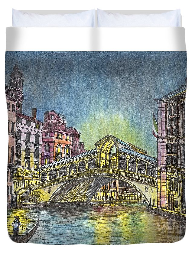 Light Reflections Duvet Cover featuring the mixed media Relections Of Light And The Rialto Bridge An Evening In Venice by Carol Wisniewski