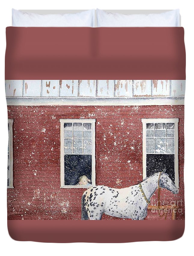 Horses Duvet Cover featuring the painting The Ride Home by LeAnne Sowa