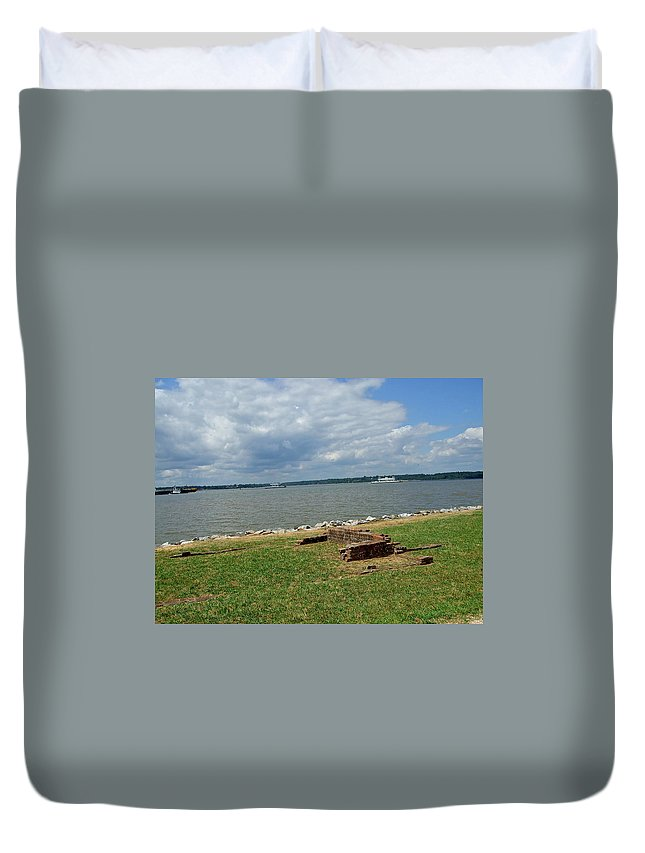 Brickwork Duvet Cover featuring the photograph The River At Jamestown by Susan Wyman