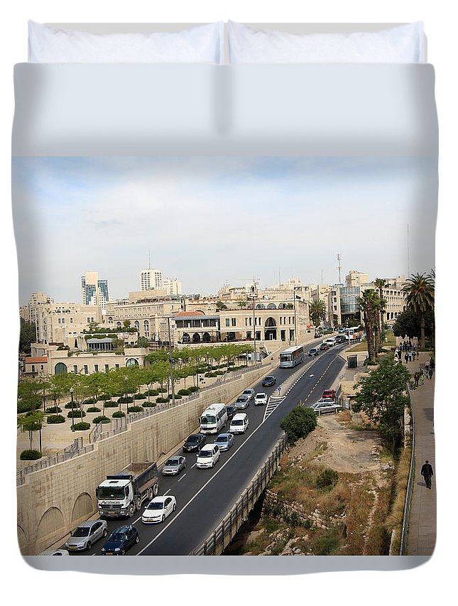 Jerusalem Duvet Cover featuring the photograph The Road To Bethlehem by Munir Alawi