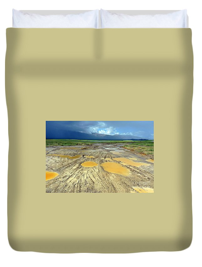 Off-road Duvet Cover featuring the photograph Bumpy Road To Khovd by Karla Weber