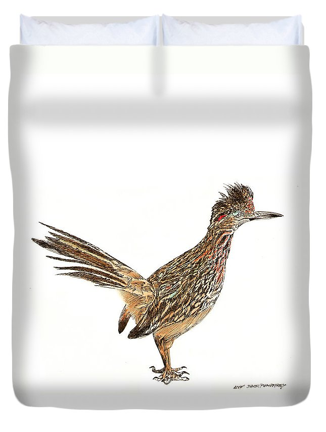 Thank You For Buying A Shower Curtain Of The Roadrunner State Bird Of New Mexico To A Buyer From Santa Fe Duvet Cover featuring the drawing State Bird Of New Mexico by Jack Pumphrey