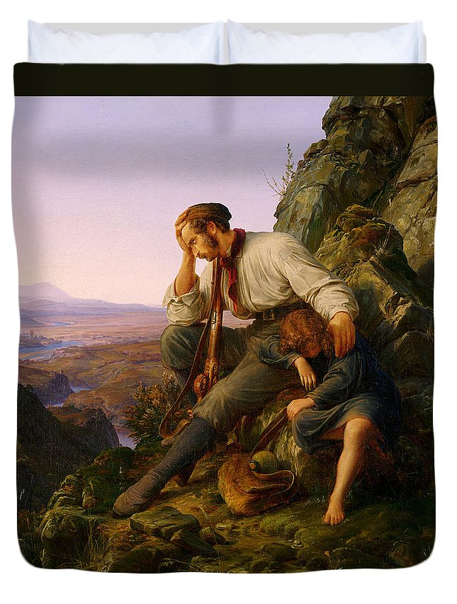 Karl Friedrich Lessing Duvet Cover featuring the painting The Robber And His Child by Karl Friedrich Lessing