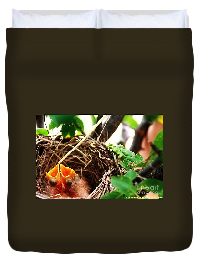 Robin Nest Duvet Cover featuring the photograph The Robins Nest by PainterArtist FIN