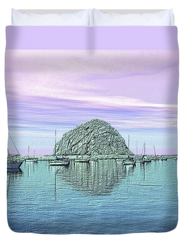 Seascape Duvet Cover featuring the photograph The Rock by Kurt Van Wagner