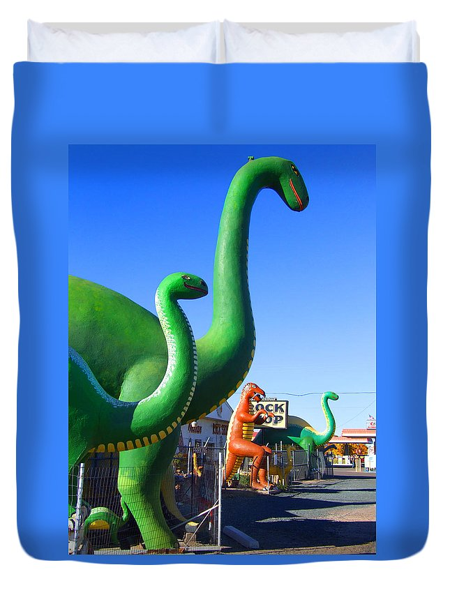 Holbrook Duvet Cover featuring the photograph The Rock Shop Just Off Route 66 by Mike McGlothlen