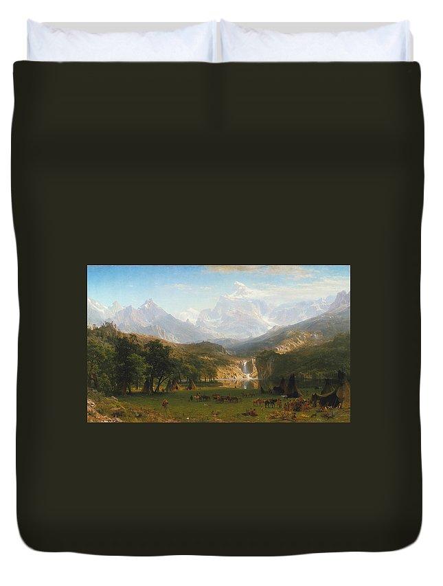 Albert Bierstadt Duvet Cover featuring the painting The Rocky Mountains Landers Peak by Albert Bierstadt