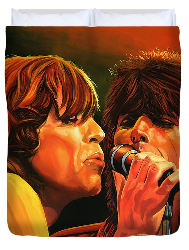 The Rolling Stones Duvet Cover featuring the painting The Rolling Stones by Paul Meijering