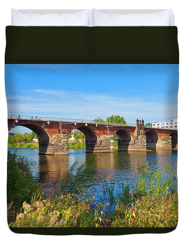 Roman Duvet Cover featuring the photograph The Roman Bridge Over Mosel River In by Werner Dieterich