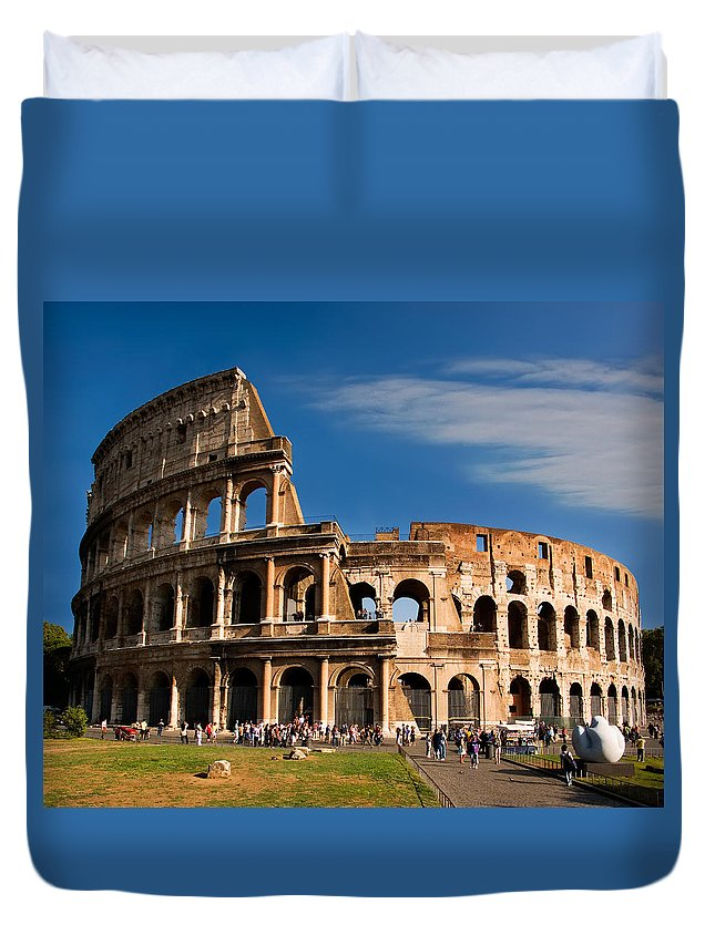 Colosseum Duvet Cover featuring the photograph The Roman Colosseum by Weston Westmoreland