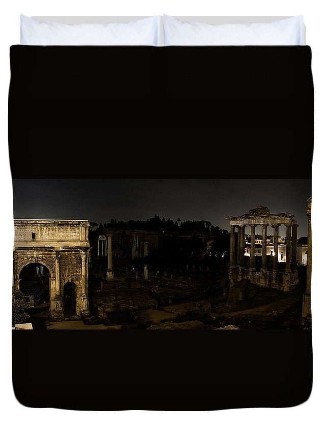 Roman Forum Duvet Cover featuring the photograph The Roman Forum At Night by Weston Westmoreland