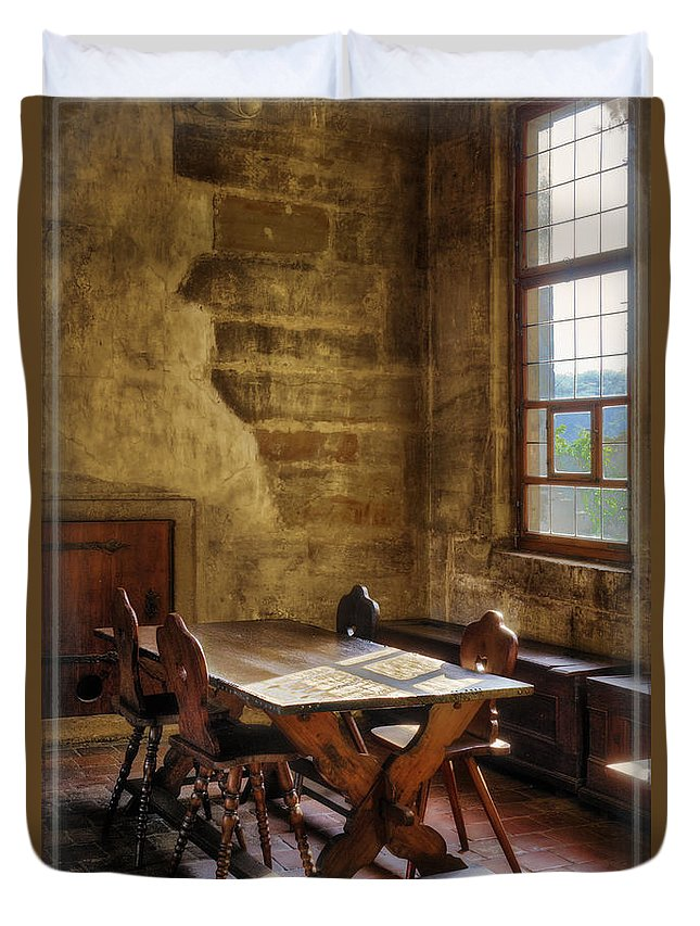 Prague Duvet Cover featuring the photograph The Room On The Side by Joan Carroll