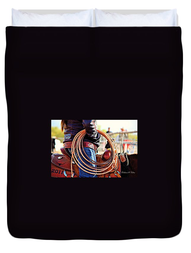 Horses Duvet Cover featuring the photograph The Rope by Barbara Zahno