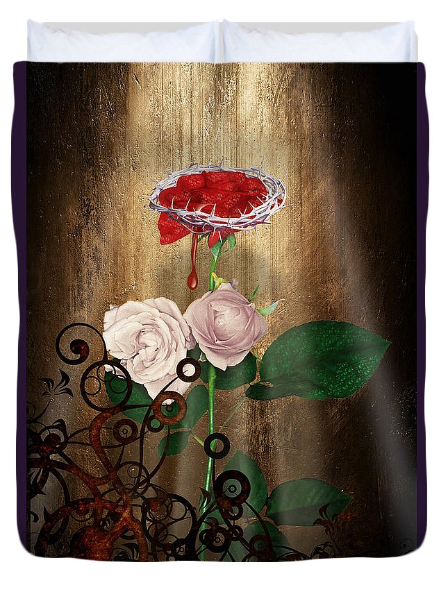 Keywords: Lucky Art Duvet Cover featuring the digital art The Rose Of Sharon by Lucky Chen