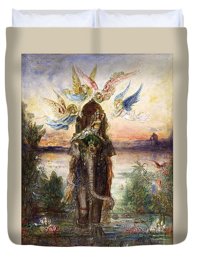 Gustave Moreau Duvet Cover featuring the painting The Sacred Elephant by Gustave Moreau