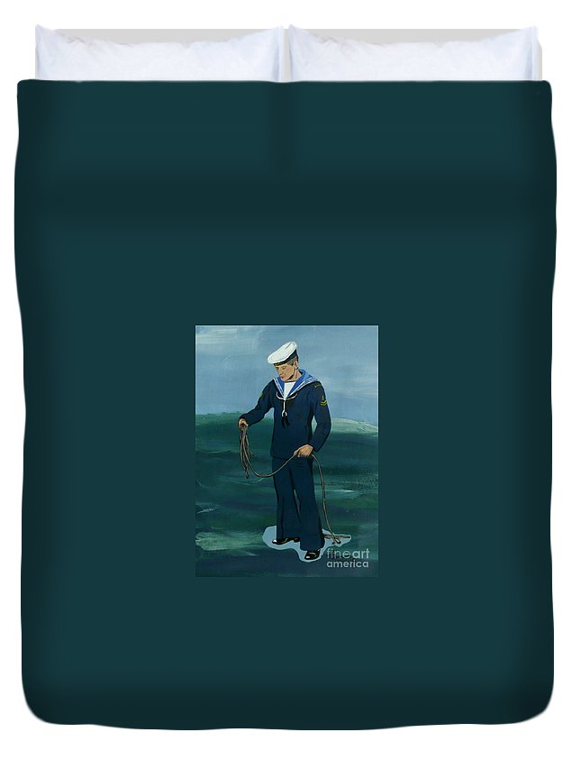 Sailor Duvet Cover featuring the painting The Sailor by Anthony Dunphy