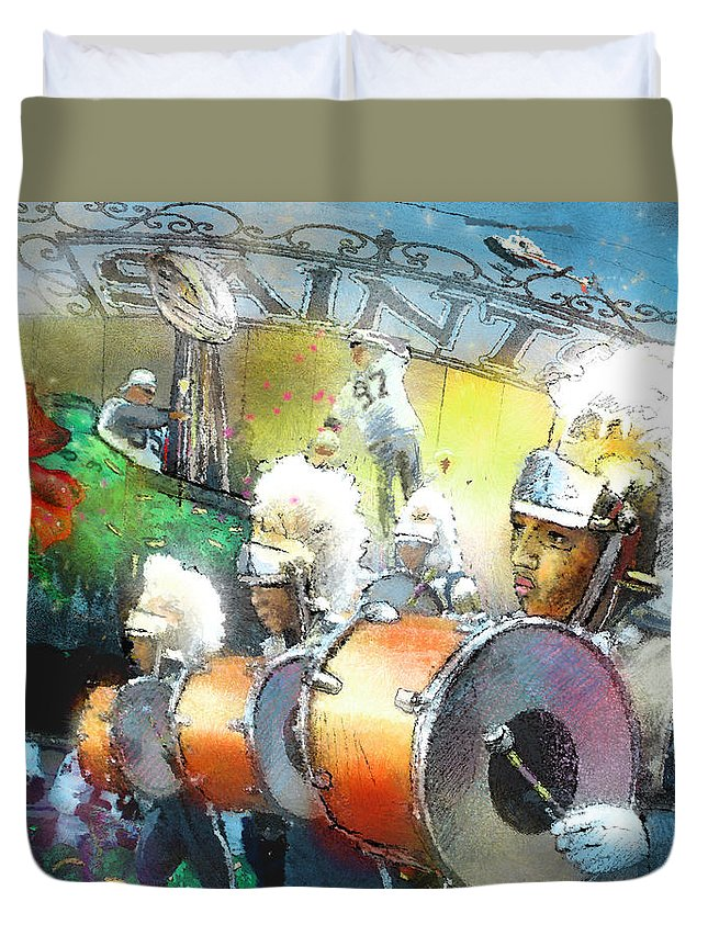 New Orleans Duvet Cover featuring the painting The Saints Parade In New Orleans 2010 01 by Miki De Goodaboom