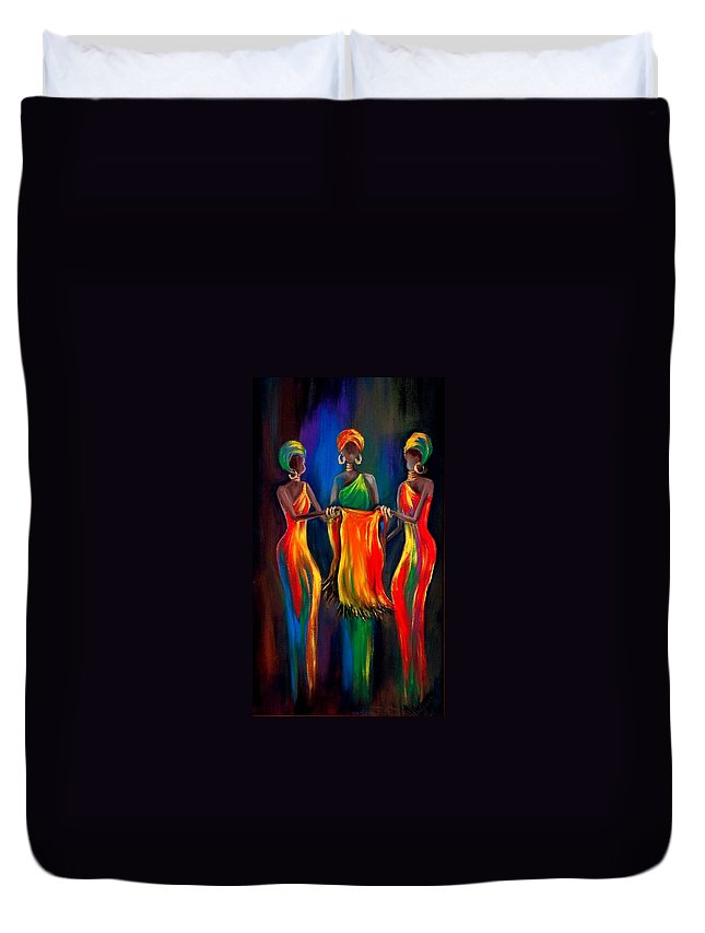 African Women Duvet Cover featuring the painting The Scarf by Marietjie Henning
