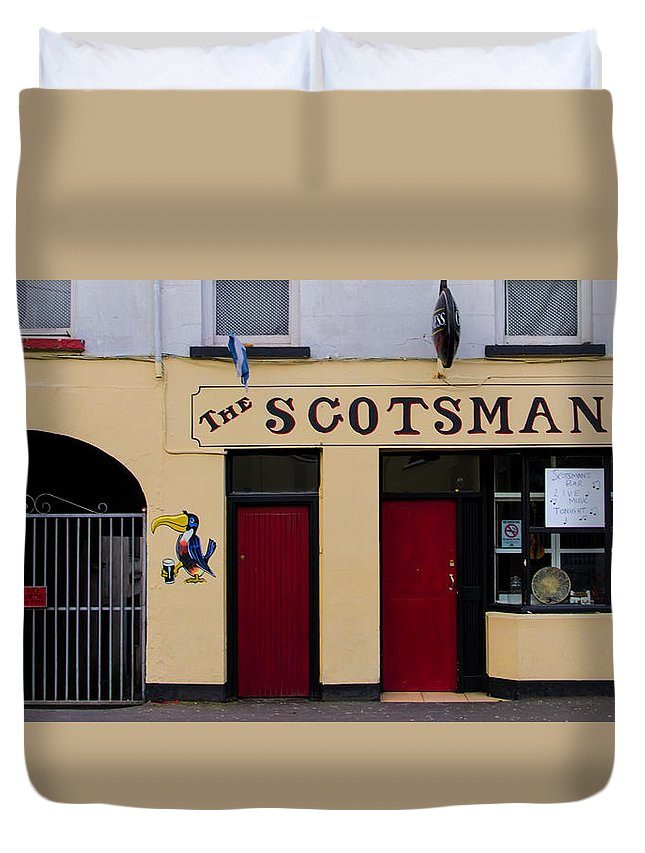 Scottsmans Duvet Cover featuring the photograph The Scottsmans Bar - Donegal Ireland by Bill Cannon